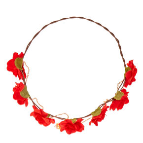Gold Chain Flower Crown Headwrap - Red,