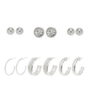 6 Pack Half Hoops & Studs Earrings Set,