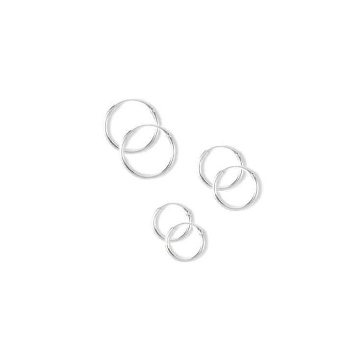 Sterling Silver Hoop Earrings  - 3 Pack,