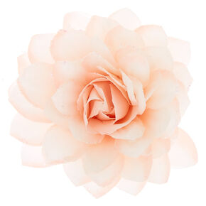 Large Glitter Flower Hair Clip - Blush Pink,