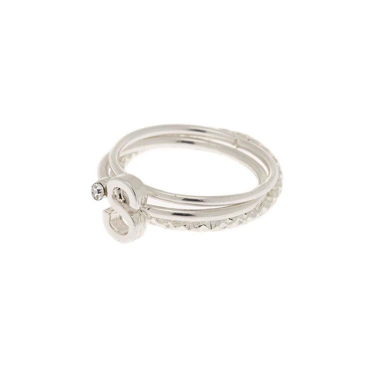 Silver Initial Midi Rings - S, 3 Pack,