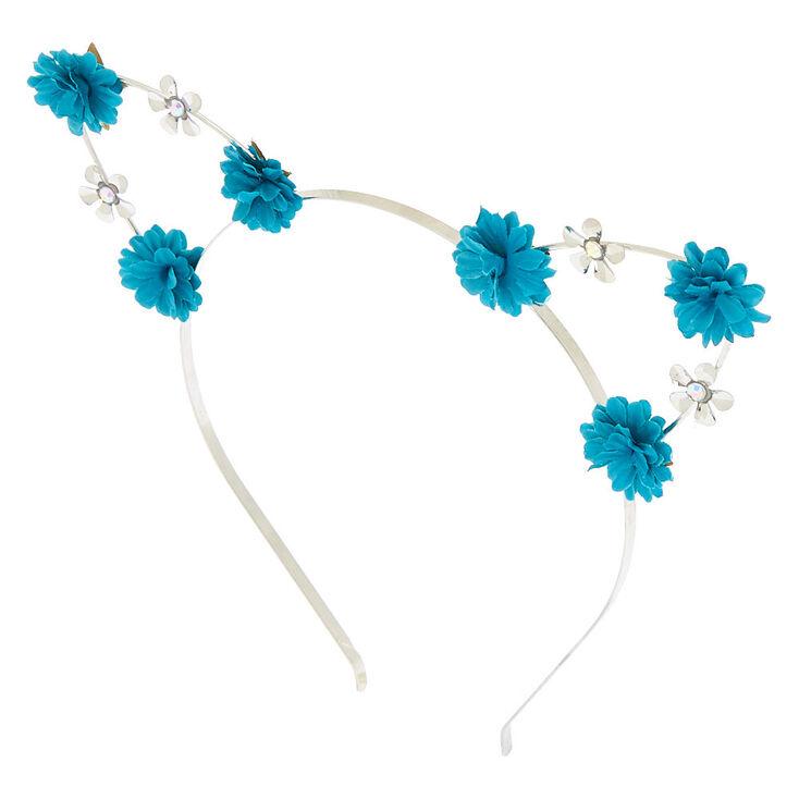 Silver Flower Girl Cat Ears Headband - Teal,