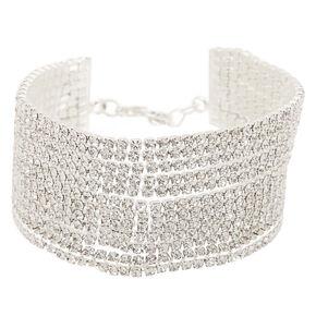 Silver Rhinestone Swag Chain Bracelet,