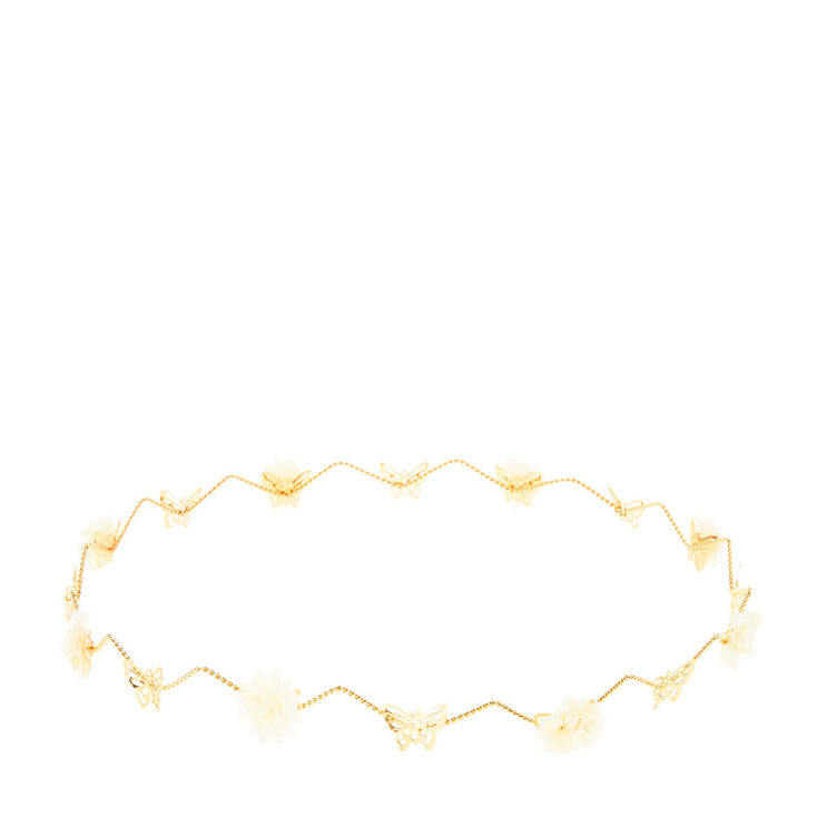 Paper Flower & Butterfly Gold Hair Crown,