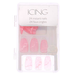 Jelly Marble Faux Nail Set - Pink, 24 Pack,
