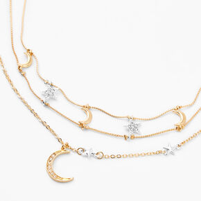 Mixed Metal Crescent Moon Star Multi Strand Choker Necklace,