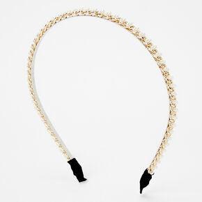 Gold Chain Pearl Headband - Ivory,