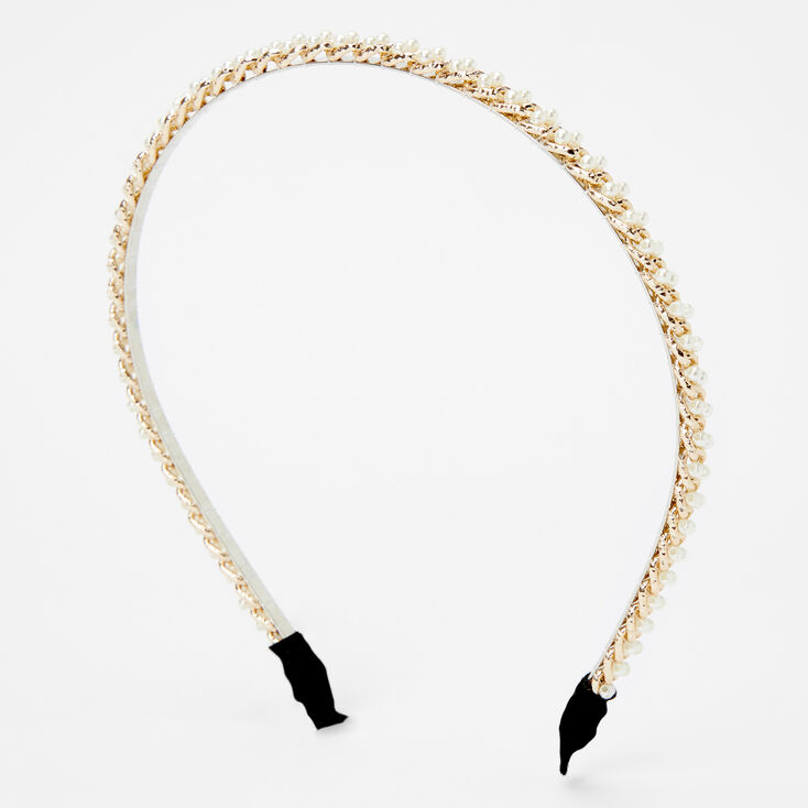 Gold Chain Pearl Headband - Ivory,