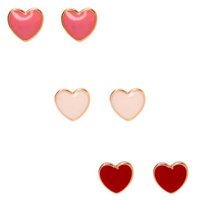 Lovely Hearts Stud Earrings - 3 Pack,