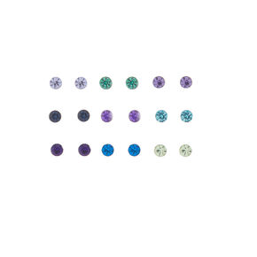 Cool Tone Crystal Stud Earrings - 9 Pack,
