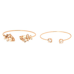 Rose Gold Rhinestone Leaf Cuff Bracelets - 2 Pack,