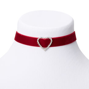Embellished Heart Velvet Choker Necklace - Red,
