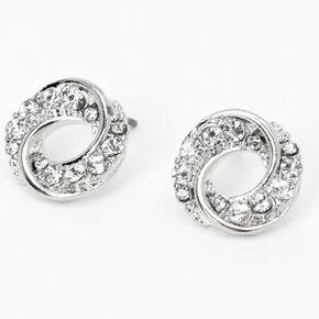 Silver Rhinestone Swirl Knot Stud Earrings,