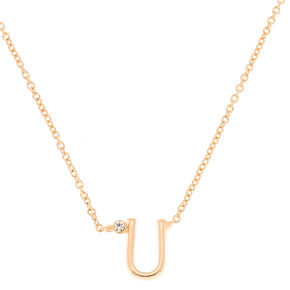 Gold Stone Initial Pendant Necklace - U,