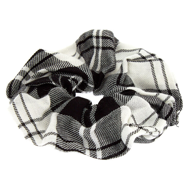 Black & White Plaid Hair Scrunchie,