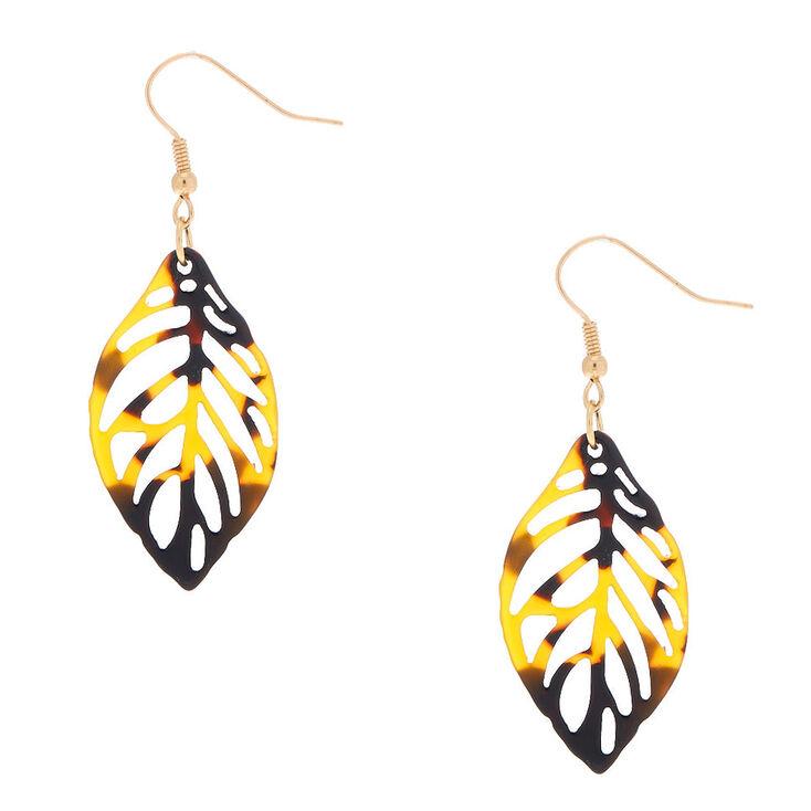 "Gold 1.5"" Tortoiseshell Leaf Drop Earrings - Brown,"