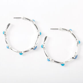 Silver 40MM Stone Hoop Earrings - Turquoise,