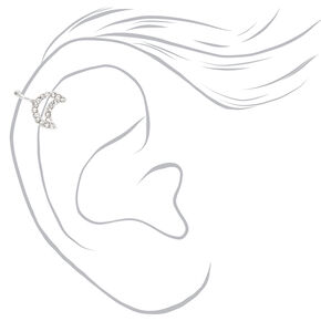 Silver Open Crystal Moon Ear Cuff,