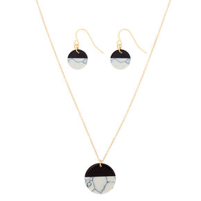 White Marble Circle Jewelry Set - Black, 2 Pack,