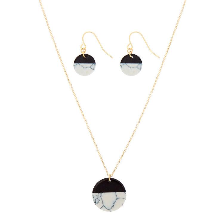 White Marble Circle Jewelry Set - Black, 2 Pack,