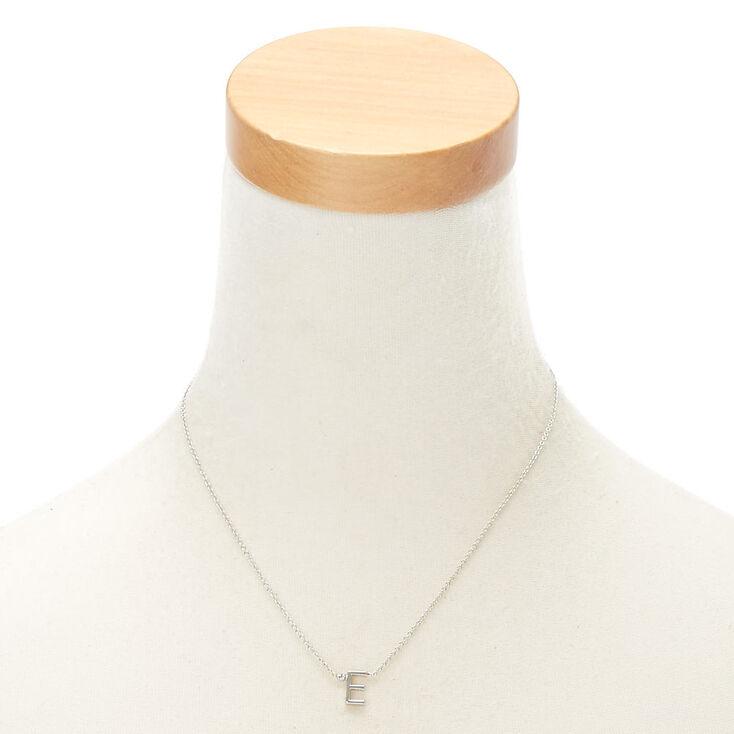 Silver Stone Initial Pendant Necklace - E,