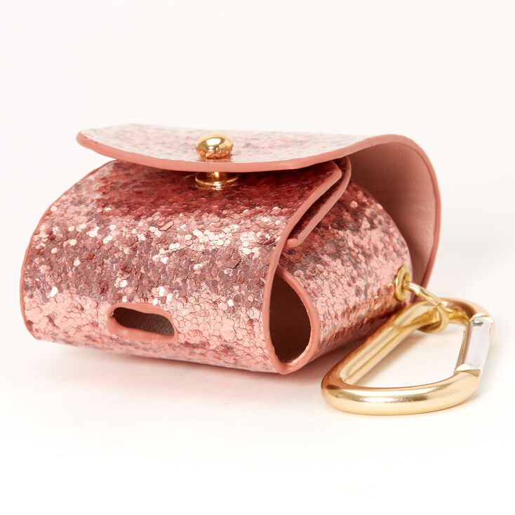 Rose Gold Chunky Glitter Earbud Pouch Case Cover - Compatible With Apple AirPods,