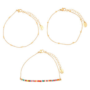 Neon Rainbow Anklet - Gold, 3 Pack,