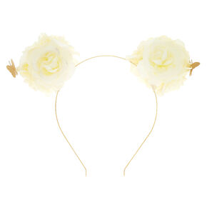 Flower Bear Ears Headband - Ivory White,