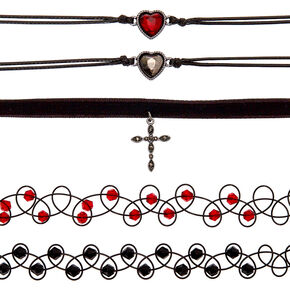 Gothic Glam Choker Necklaces - 5 Pack,