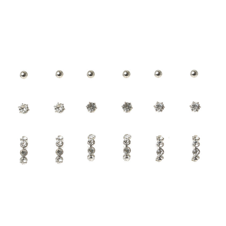 Silver Ball & Crystal Stud Earring Set,