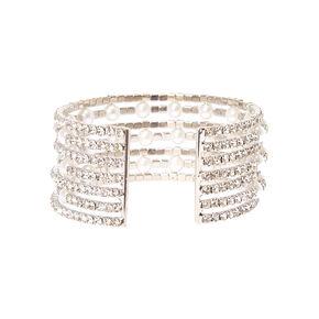 Multi-row Faux Pearl & Crystal Cuff Bracelet,