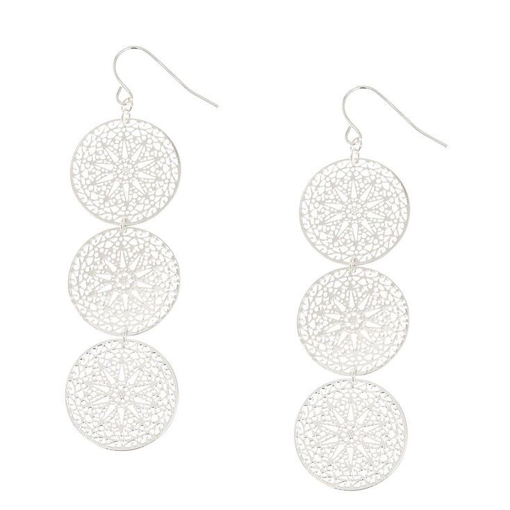 Silver Tone Filigree Circle Drop Earrings,