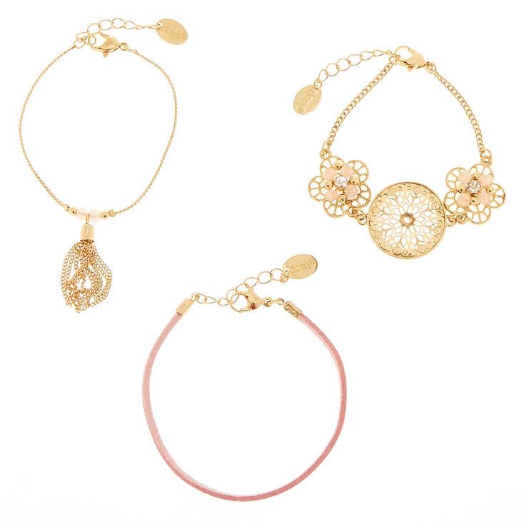 Gold Filigree Chain Bracelets - Pink, 3 Pack,