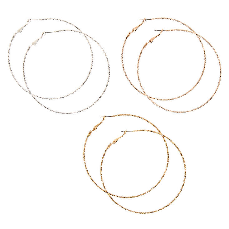 3 Pack 70MM Mixed Metal Textured Hoop Earrings,