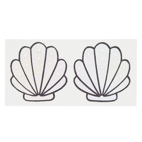 Mermaid Shell Pasties - Silver, 2 Pack,