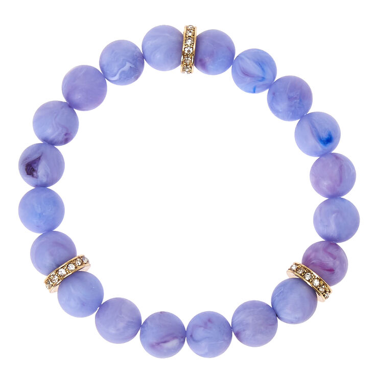 Purple Beaded Stretch Karma Bracelet,
