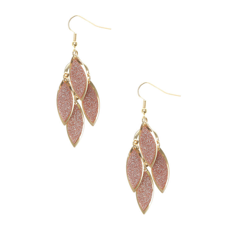 Layered Glittery Brown & Gold Leaves Drop Earrings,