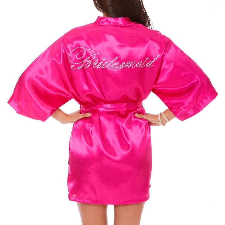 Hot Pink Satin & Crystal Bridesmaid Robe - S,