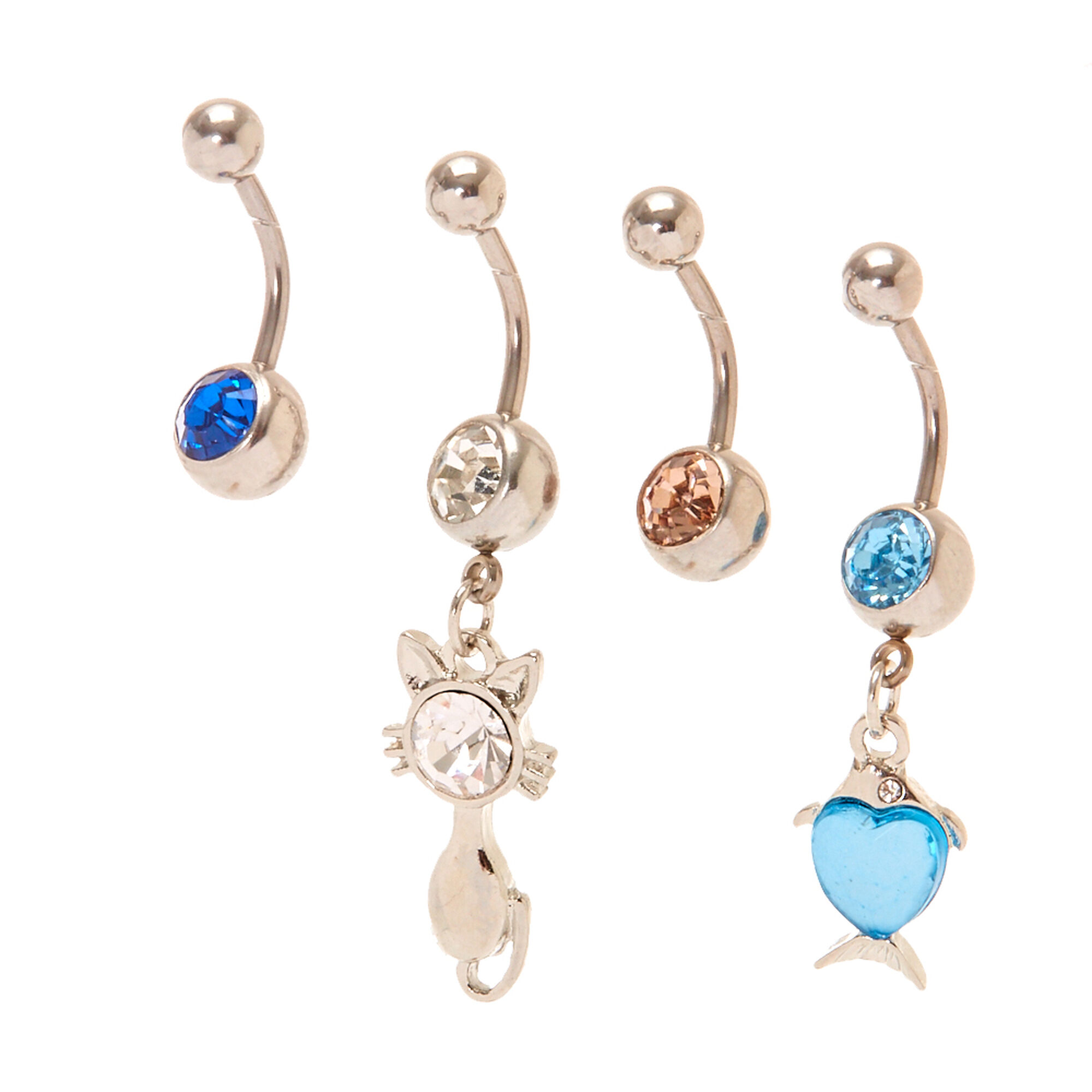 piece com piercing design body amazon of rings dp cool sexy navel surgical set mix steel made belly ball colors button diamond a titanium cute jewelry ring