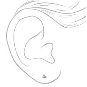 Sterling Silver Rose Stud Earrings - White,