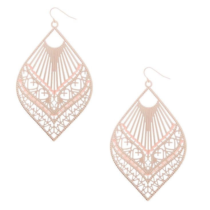 "Rose Gold 3.5"" Filigree Threaded Drop Earrings - Pink,"