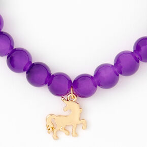 Gold Unicorn Beaded Stretch Bracelet - Purple,