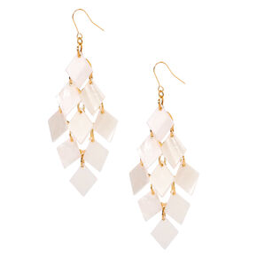 "Gold 3"" Beach Chic Drop Earrings - White,"