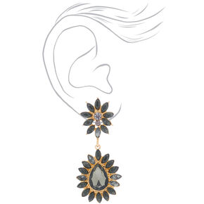 Crystal Flower Drop Earrings - Gray,