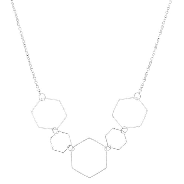 Silver Hexagon Statement Necklace,