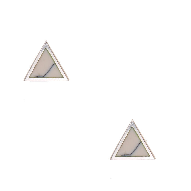 925 Sterling Silver Triangle Marble Stone Earrings,