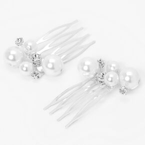 Silver Rhinestone Pearl Hair Comb Clips - 2 Pack,