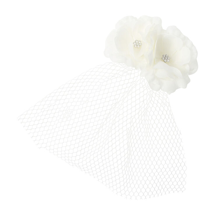 Ivory Flowers with Crystals & Mesh Veil Fascinator Hair Clip,