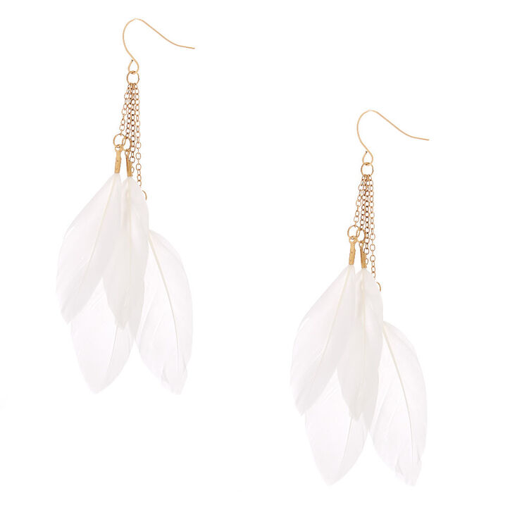 """Gold 3"""" Feather Drop Earrings - White,"""