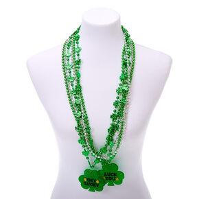 Shamrock Pendant Beaded Necklaces - 6 Pack,
